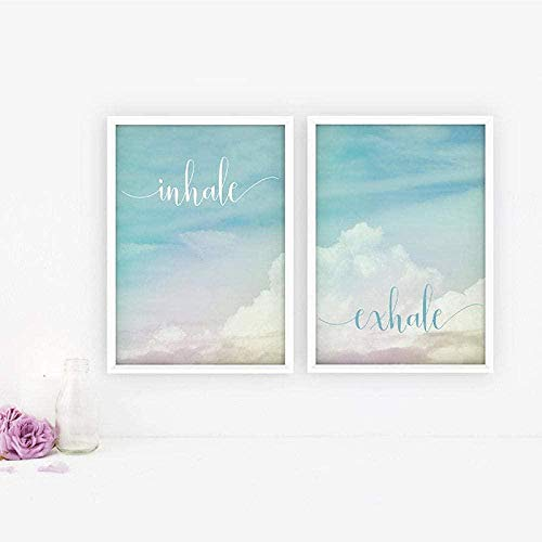 Inhale Exhale Motivational Poster Yoga Meditation Prints Boho Zen Art Breathe Canvas Painting Pilates Wall Pictures Home Decor-40x60cmx2 pcs sin marco