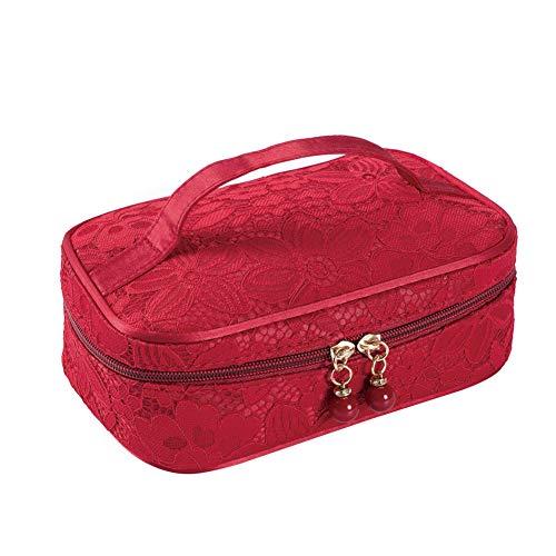 Lovemay Trousse cosmétique en Polyester Facile à Transporter Grande capacité pour cosmétiques, Polyester, Rouge, 21 * 13 * 7cm