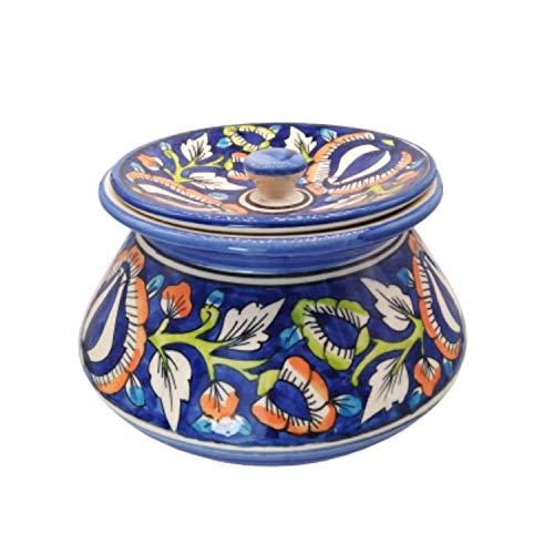 India Meets India Servierhandi mit Deckel Reis Pulao Biryani Gemüse Handarbeit von ausgezeichneten indischen Kunsthandwerkern (mehrfarbig, H 5,5 x D 6 Inc)