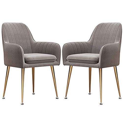 Velvet Dining Chair Electroplated Titanium Gold Legs Armchair Dining Living Bedroom Home Office Chairs (Color : Gray, Size : 2pcs)