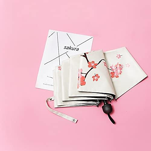 Ziayai Parasol protector solar con protección UV, diseño de flor de cerezo, plegable, portátil, pequeño, fresco, de alto grado, portátil, resistente al viento, compacto, ligero, viaje de negocios
