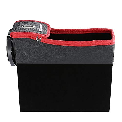 Todaytop 2 Pack Car Seat Gap Storage Box Cup Holder Mobile Phone Holder Multifunctional Auto Accessories Premium PU Leather Seat Catcher Gap Filler Car Organizer Compartment for Snacks Electronics