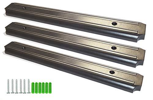 Juego de 3 tiras magnéticas para herramientas, cuchillos, oficina, casa o garaje, 33 cm, capacidad de carga de hasta 10 kg, color negro, montaje fácil con material de fijación