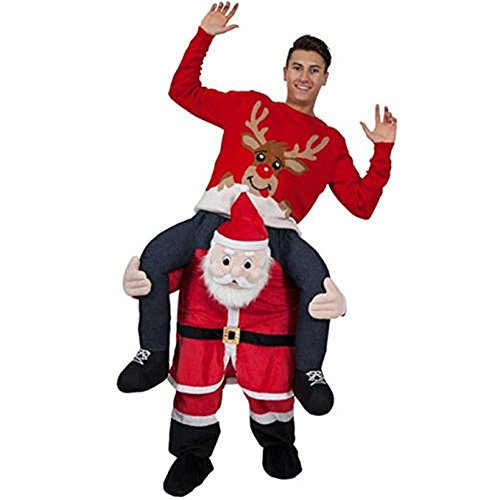 k228 Adult Fancy Party Dress Costume Carry Costume Me Santa Claus Ride On Christmas Mascot Pants, One Size