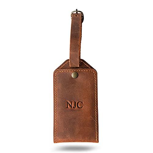 PEGAI Personalized Leather Luggage Tag | Distressed Leather Travel ID Tag | BOND (Mahogany)