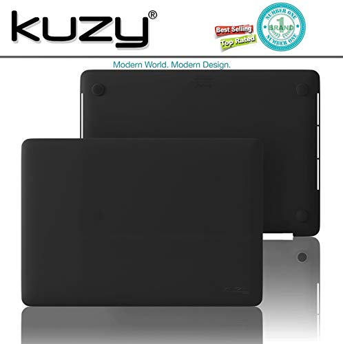 Kuzy - MacBook Pro 15 inch Case 2019 2018 2017 2016 Release A1990 A1707, Hard Plastic Shell Cover for Newest MacBook Pro 15 case with Touch Bar Soft Touch - Black
