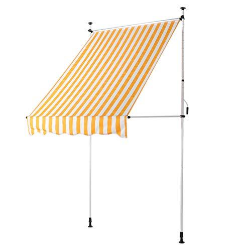 Omabeta Fenstermarkise, wasserdicht, langlebig, einfache Installation, manuell, Multifunktions-Sonnenschutz, Markise, Überdachung, einziehbar, für Gartenhaus (gelbe und weiße Streifen)