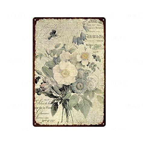 Letrero de metal vintage de la lata de la flor de rosa, pintura artística pastoral, decoración del hogar, sala de estar, jardín, letrero de metal de la pared, 20 x 30 cm