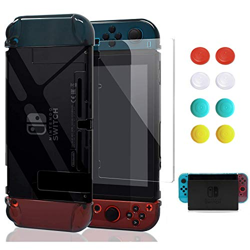 Switch Case, VEGCOO Dockable Protective Case Crystal Clear Shockproof Ergonomic Anti-Scratch Cover for Nintendo Switch Console & Accessories (with 1 Glass Screen Protector & 8 Thumb Grips Caps)-Black