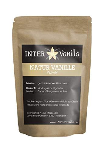 InterVanilla Natur VANILLEPULVER 25g gemahlen aus echten Vanilleschoten, Vanilla bean powder, Vanille Pulver ohne Zusätze, Naturvanille ohne Zucker