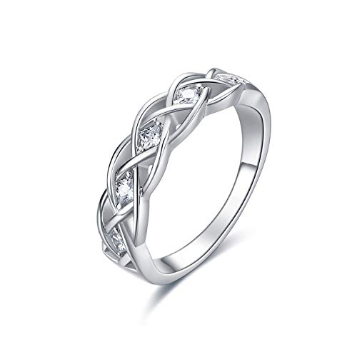 Celtic Knot Rings Sterling Silver Simple Criss Cross Knot Ring Wedding Band Celtics Jewelry Gifts for Women Her Girlfriend Wife (Silver, 7)
