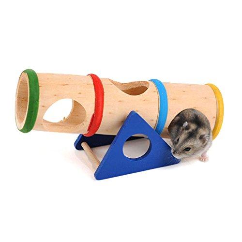 Emours™ - Cilindro giocattolo per animali di piccola taglia, in legno, movibile, per criceti, topi e altri animaletti pelosi di piccola taglia