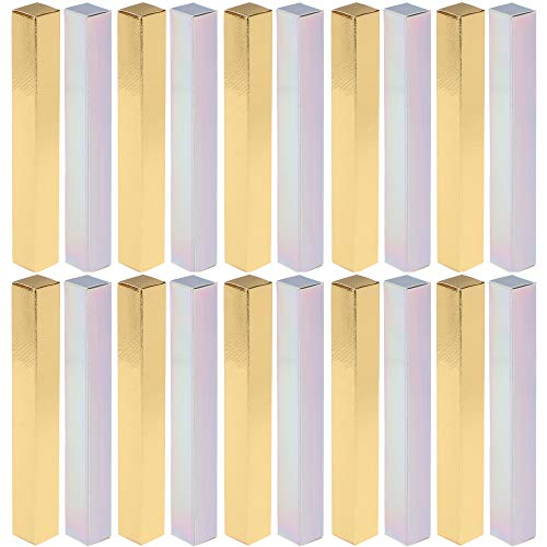 RONRONS 100 Pieces Holographic Gold Empty Eyeliner Box Twist Pens Packaging Boxes Cuticle Oil Pen Wrapping DIY Lip Gloss Sample Wrap Storage Holder Lipsticks Paper Box, 14.5 x 1.6 x 1.6cm/5.7 x 0.63 x 0.63inch
