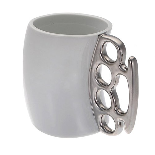 SODIAL (R) Knuckle Duster Grosse Tasse Fifti Tasse Kaffeetasse Griff Gift - Weiss