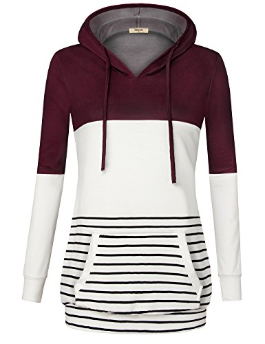 Timeson Hoodies for Women, Women Long Sleeve V Neck Novelty Hoodies Casual Soft Knitted Hooded Sweatshirts Tunic Wine XX-Large