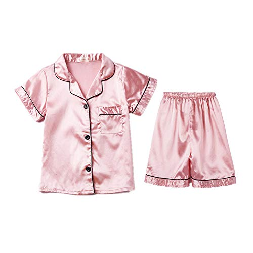 Digirlsor Little Boys Girls Short Satin Pajamas Set Classic Silk Pjs Toddler Kids 2 Piece Sleepwear Button-Down Short Sleeve Pink, Tag12/7-8 years/ Height 120-130cm