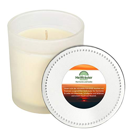 Heilkräuter Manufaktur Bio-Heil-Kräuter-Kerze für Harmonie und Liebe - Handarbeit aus Rapswachs und natürlichen Heilkräutern. Im Glass mit Deckel