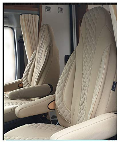 Maß Sitzbezüge Fiat Ducato Fahrer & Beifahrer ab BJ 2006 Farbnummer: PL405 (Caramel-Beige)