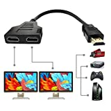 HDMI Splitter Adapter Cable - HDMI Splitter 1 in 2 Out/HDMI Male to Dual HDMI Female 1 to 2 Way for HDMI HD, LED, LCD, TV, Support Two TVs at The Same Time…