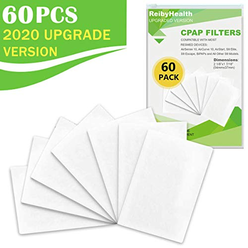 Disposable CPAP Filters (60 Pack - TWO Year Supply), Premium Universal Filters, Fits All ResMed Air 10, Airsense 10, Aircurve 10, S9 Series, Airstart Series CPAP Machines, Replacement Filters Supplies