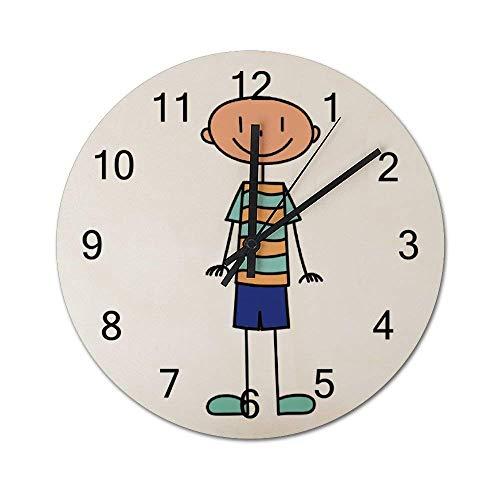 Reloj de pared de madera redondo rústico silencioso que no hace tictac de 10 pulgadas Un hombre de pelo incambiable se pone un par de pantalones cortos y un chaleco Decoración de pared de granja vinta