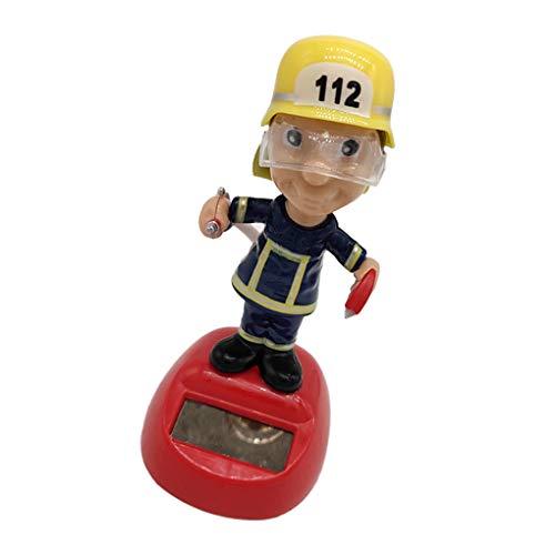 heacker Cartoon Feuerwehr Solarenergie Schaukel Energie Auto-Puppe-Autoverzierungen Fahrzeugdekorationen Ferien Geburtstags-Geschenk