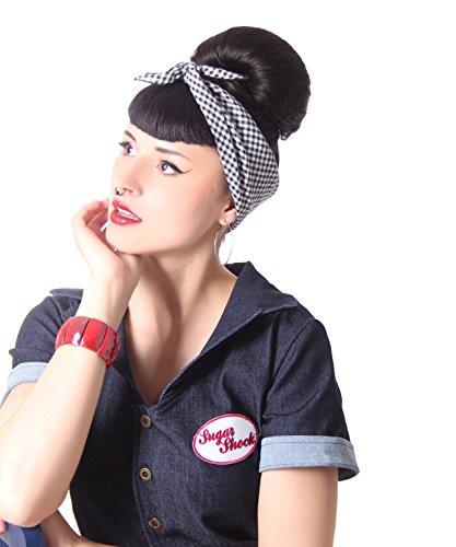 SugarShock Hairband Frisuren Haar Tuch Nickituch Bandana, Größe:OneSize, Farbe:schwarz Weiss