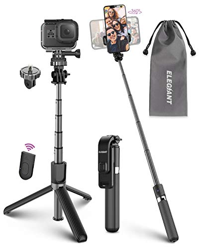 ELEGIANT Bastone Selfie Wireless, 4 in 1 Asta Selfie Stick Bluetooth con Treppiede per Camera Gopro 3,7-6,8 Pollici Cellulare iPhone 11 XS Max XR x 8s Samsung Galaxy S20 s10 s8 Huawei P30 P20 PRO
