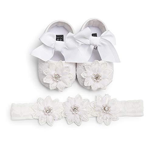 TMEOG 2 Pcs Kleinkind Schuhe+Stirnband, Baby Mädchen Blumen Schuh Anti-Rutsch-Weiche Besondere Anlässe Taufe Hochzeit Party Schuhe (21 EU, Weiß)