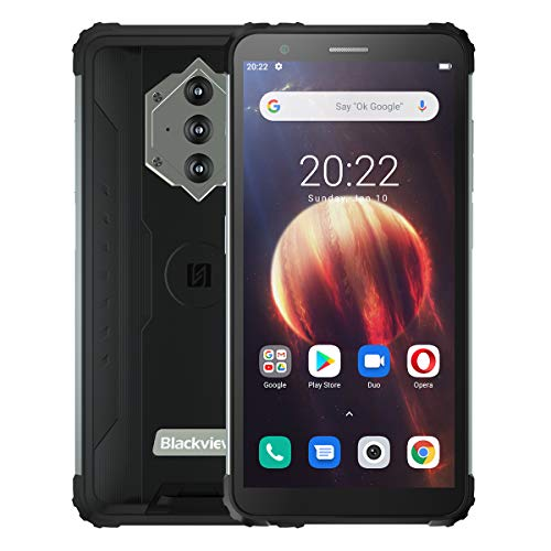 Blackview BV6600 Móvil Antigolpes, Batería 8580mAh (Carga Inversa), 5.7'' HD+ IP68 IP69K Impermeable Teléfono Resistente Android 10.0, Octa Core 4GB + 64GB, Cámara de 16MP NFC GPS Dual SIM Negro