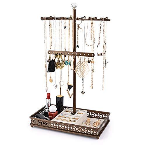 Minggoo - Organizador de soporte para árbol de joyas, 3 en 1, organizador de collar, pulsera, pendientes y bandeja para anillos, soporte para joyas, metal (bronce)