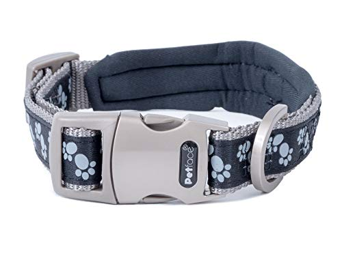 Signature Petface Padded Dog Collar, Small, Black Paws with Grey Stitching, S