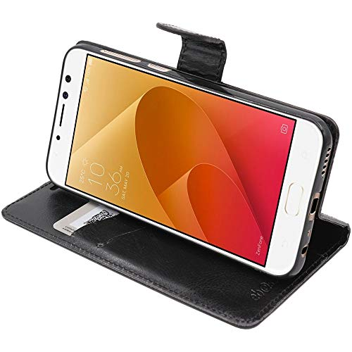 ebestStar - kompatibel mit Asus Zenfone 4 Selfie Pro Hülle ZD552KL Kunstleder Wallet Hülle Handyhülle [PU Leder], Kartenfächern, Standfunktion, Schwarz [Phone: 154 x 74.8 x 6.9mm, 5.5'']