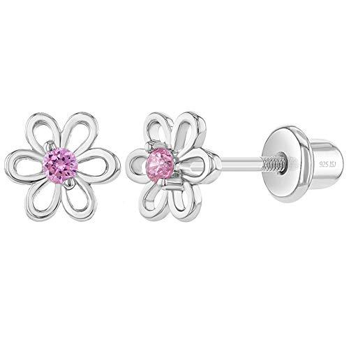 In Season Jewelry - Mädchen Kleinkind - Schraubverschluss Ohrringe Blume 925 Sterling Silber Rosa CZ Zirkonia