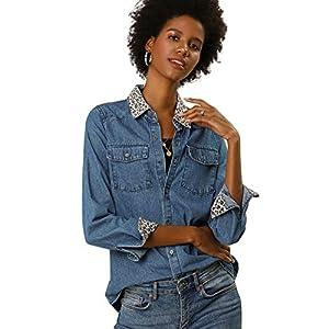 Women's Leopard Print  Long Sleeves Jean Denim Shirt