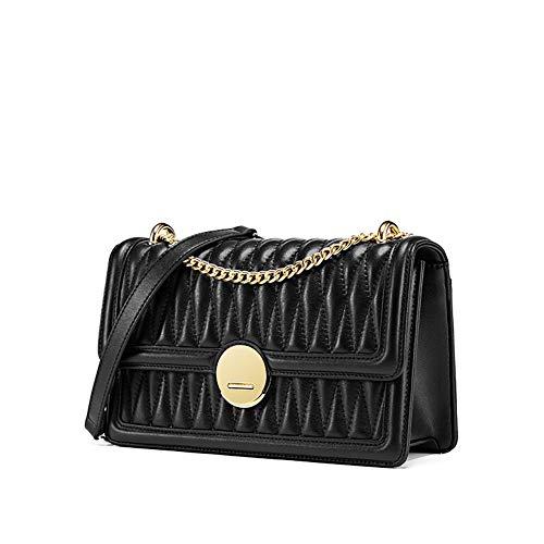 Bolso de hombro de cuero para mujer, bolso de cadena, bolso cuadrado pequeño extranjero, bolso bandolera, adecuado para regalos de vacaciones de fiesta de citas negro
