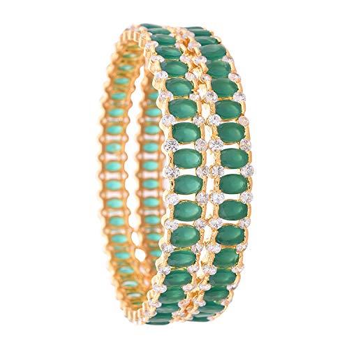 Ratnavali Jewels CZ Zirkonia Gold Polnisch Grün Blau Rot Diamant Bollywood Indische Armreifen Armband Schmuck Frauen