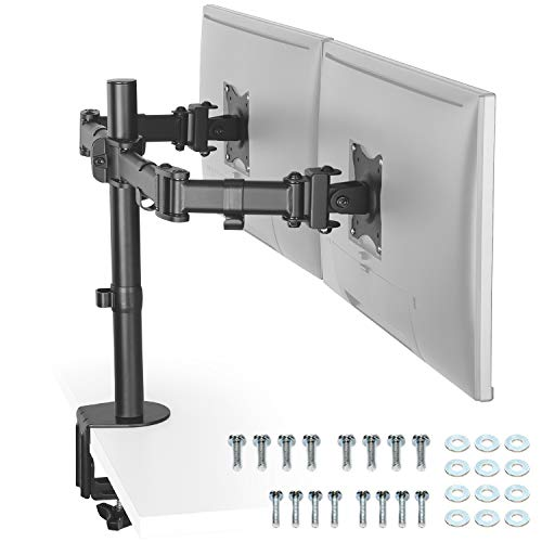 RICOO Monitor Halterung 2 Monitore, (TS5811) für 15-27 Zoll LED/LCD Schreibtisch Bildschirm Halterung, Monitor Tischhalterung Neigbar 180° Schwenkbar 360°, 8 kg pro Arm, VESA 75/100, Schwarz