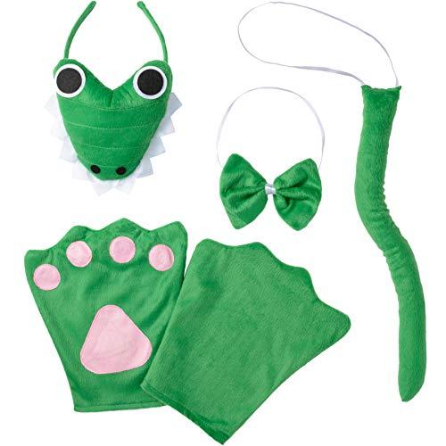 dressforfun 302043 - Kostüm Set Krokodil für Erwachsene, Haarreif mit Gesicht, Handschuhe, Fliege und Schwanz