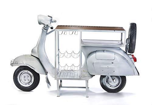 Kobolo Weinregal Anrichte Barregal Scooter Bar -Roller - Vintage weiß - 170x66x105 cm