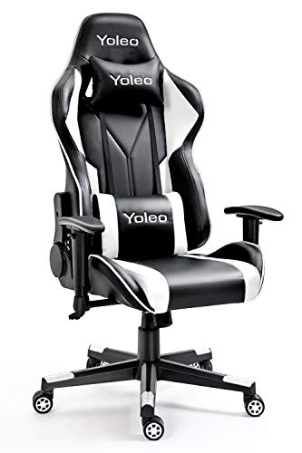 Gaming Chair -Yoleo Ergonomic Computer Gaming Chair Adjustable Armrest High Back Office Chair Mute Casters Desk Chair with Lumbar Support and Headrest, Recliner Chair BIFMA Certified Black/White