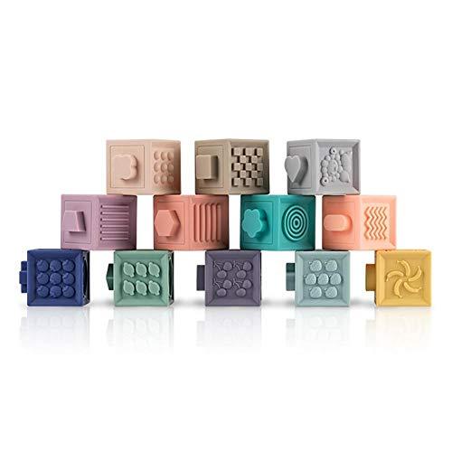 PiniceCore 12pcs Juguete para Bebés Building Blocks 3D Tocar La Mano del Bebé Bolas De Goma De Masaje Teethers Squeeze Toy Juguetes del Baño