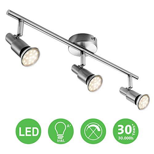 LED Deckenleuchte Deckenlampe, 3-flammig Dreh- und schwenkbar 3W GU10 230V IP20 Metall Warmweiß, für Küche Wohnzimmer Schlafzimmer
