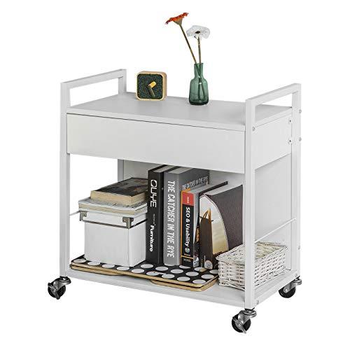 SoBuy FKW50-W Multifunctionele Opbergkast Rolling Keukenwagenkast Keuken Trolley op Wielen met 2 Planken en 1 Lade - Wit