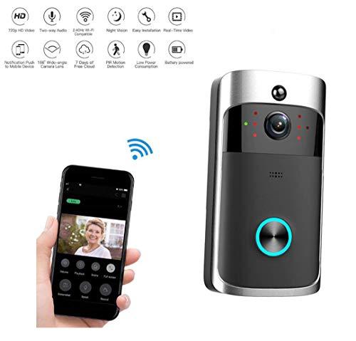 Denshine Videoportero 2.4G Wifi Timbre Puerta Inalámbrico 720P HD Hogar Inteligente Remoto Monitor Interior con Visión Nocturna App para iOS/Android/Windows