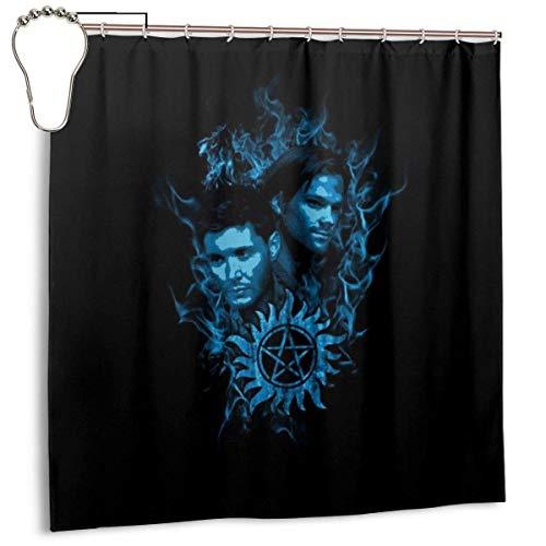 Yuanmeiju Mode wasserdichter Duschvorhang Sam and Dean Blue Flame Supernatural Print Decorative Bathroom Curtain with Hooks 72 X 72 Inch