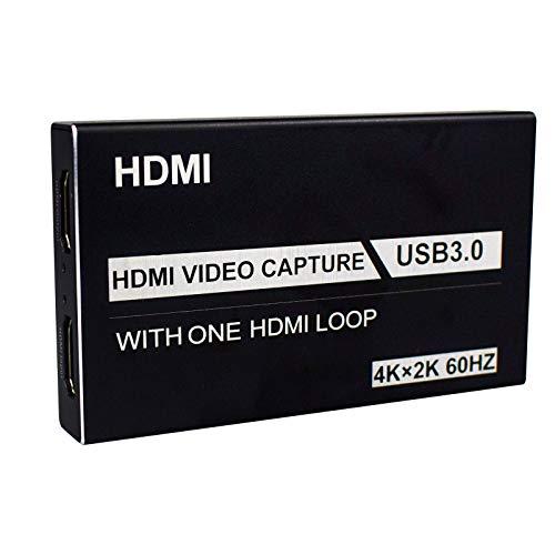 Tihokile Carte Acquisition HDMI vers USB 3.0 avec HDMI Loop Out, Carte de Capture Audio Vidéo 4K Adaptateur pour la Diffusion en Direct Compatible avec Caméscope/DSLR/Ordinateur/Phone /PS4