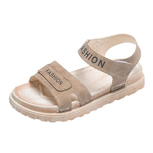 LHWY Sandalias Plataformas Mujer Verano Zapatos Antideslizantes Punta Abierta Romana Planas Cabeza Redonda Zapatillas con Correa de Tobillo (37EU, Caqui)