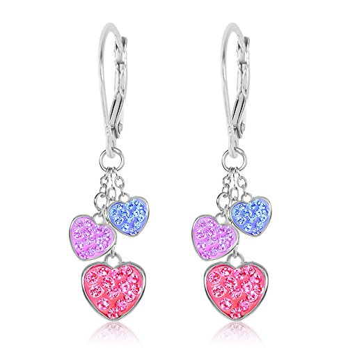 Heart Leverback Hypoallergenic Earrings for Kids With Swarovski Crystal Elements Safe For Girls Children Infants Toddlers Babies and Tween White Gold Toned with Silver Leverbacks