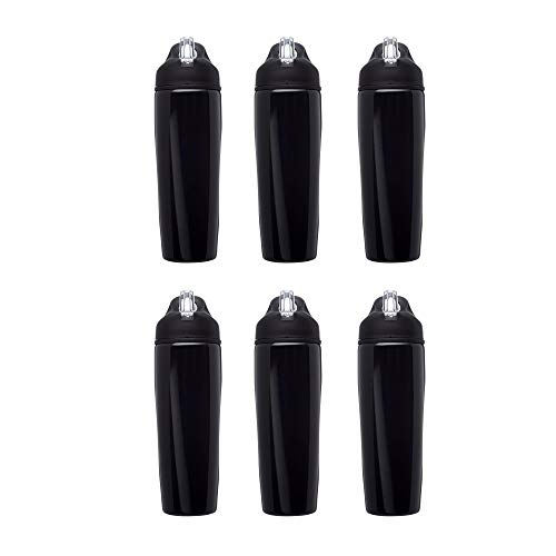 Stainless Steel Water Bottle, 6 pack, 8.5 oz Metal Sports Bottles with Flip Top, Easy Carrying, Black